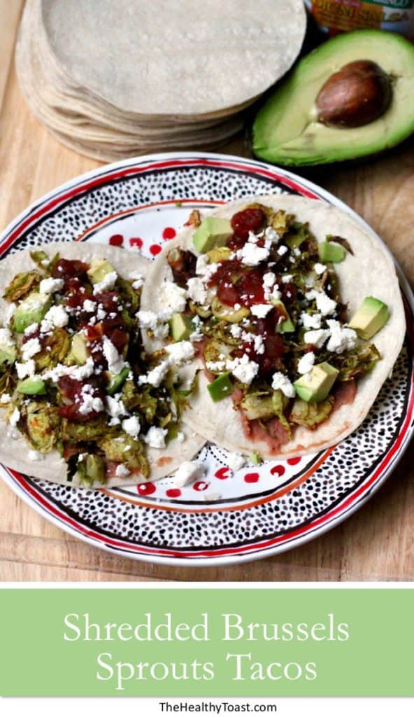 Shredded brussels sprouts tacos pinterest image