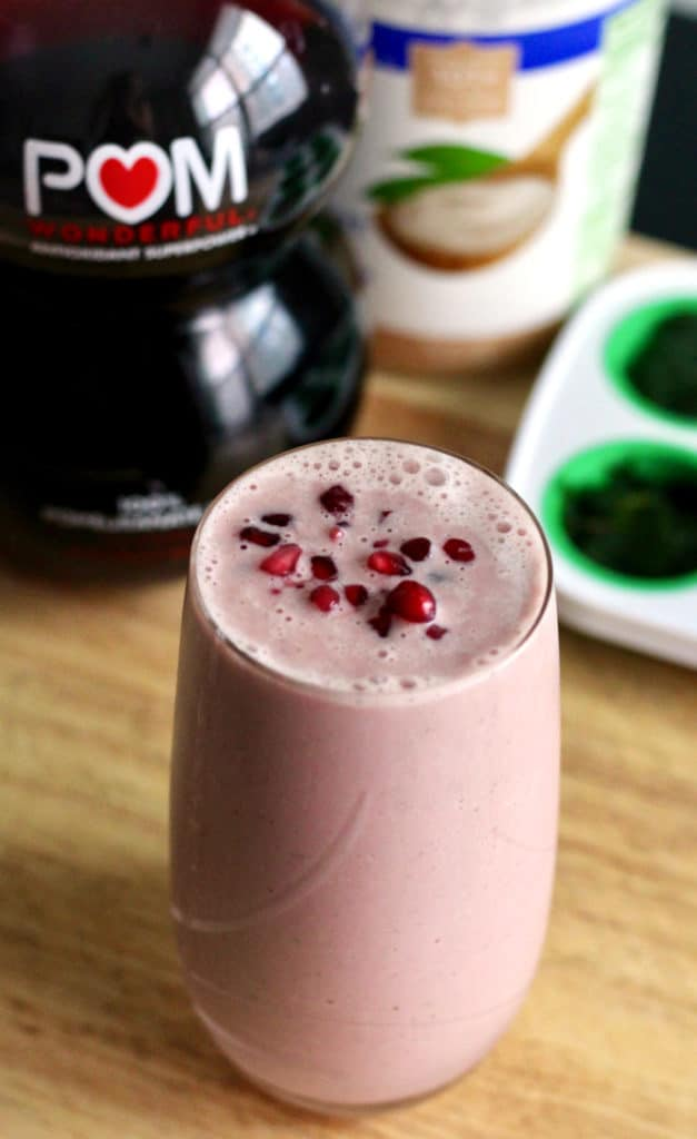 Tropical pomegranate breakfast smoothie