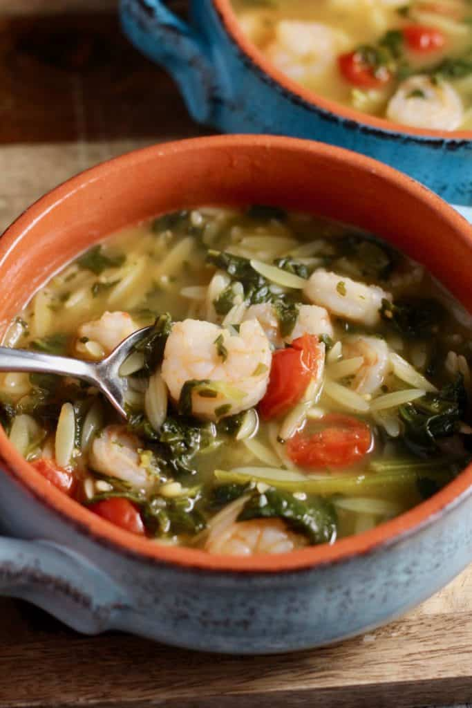 Spoon of 10-minute shrimp and orzo soup