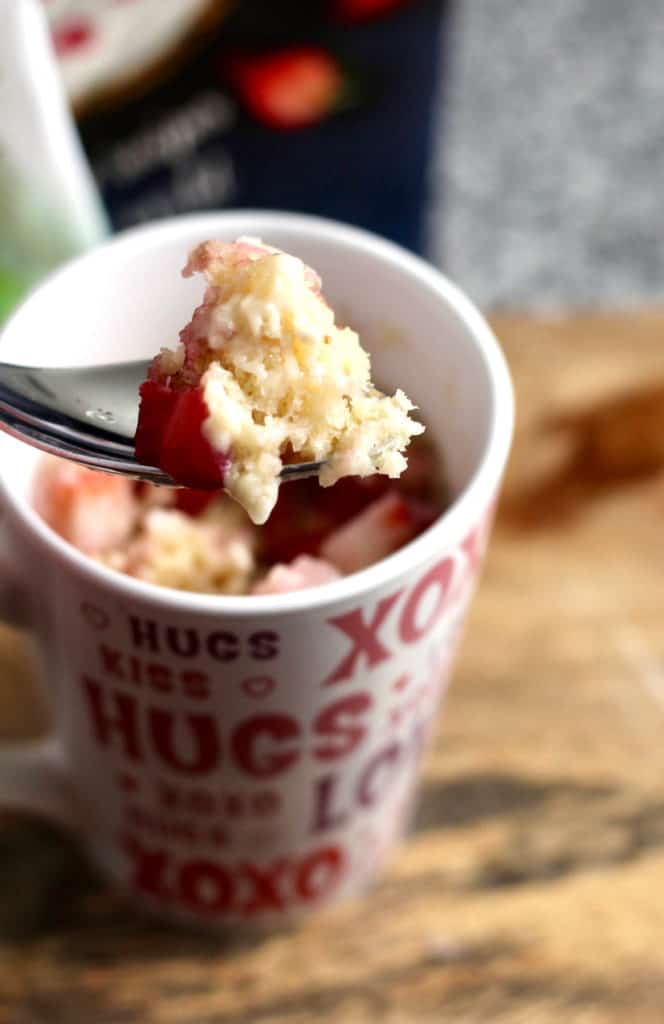 Healthier Single-Serving Strawberry Shortcake (a mug cake recipe)