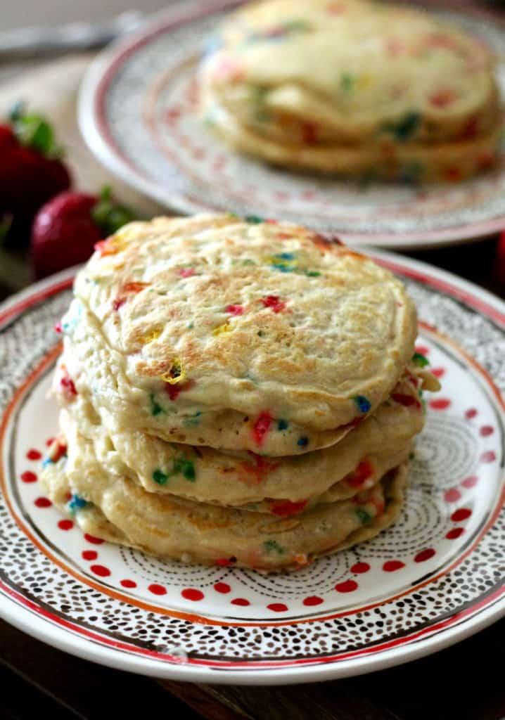 Stack of Fluffy Greek Yogurt Birthday Pancakes