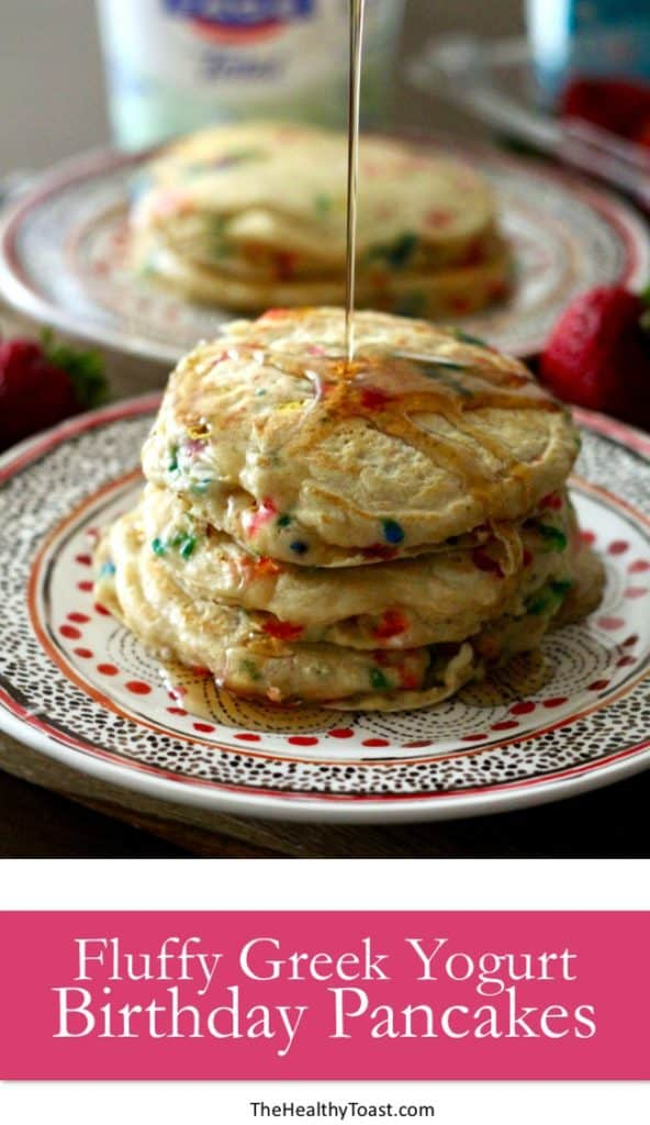 Fluffy Greek Yogurt Birthday Pancakes Pinterest image