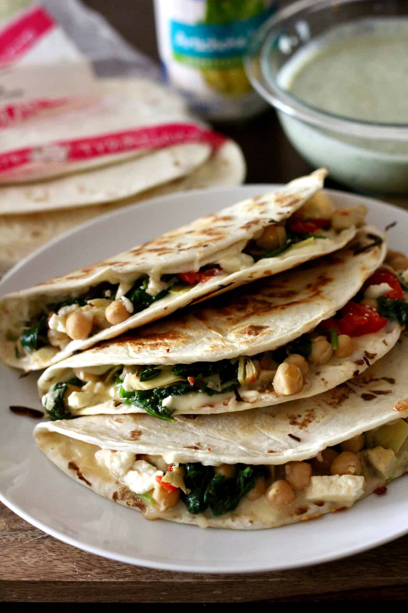 Greek Veggie Quesadillas