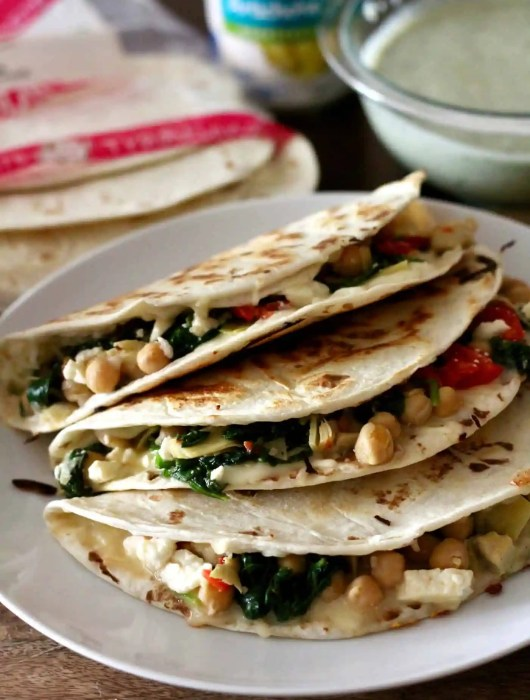 Greek veggie quesadillas