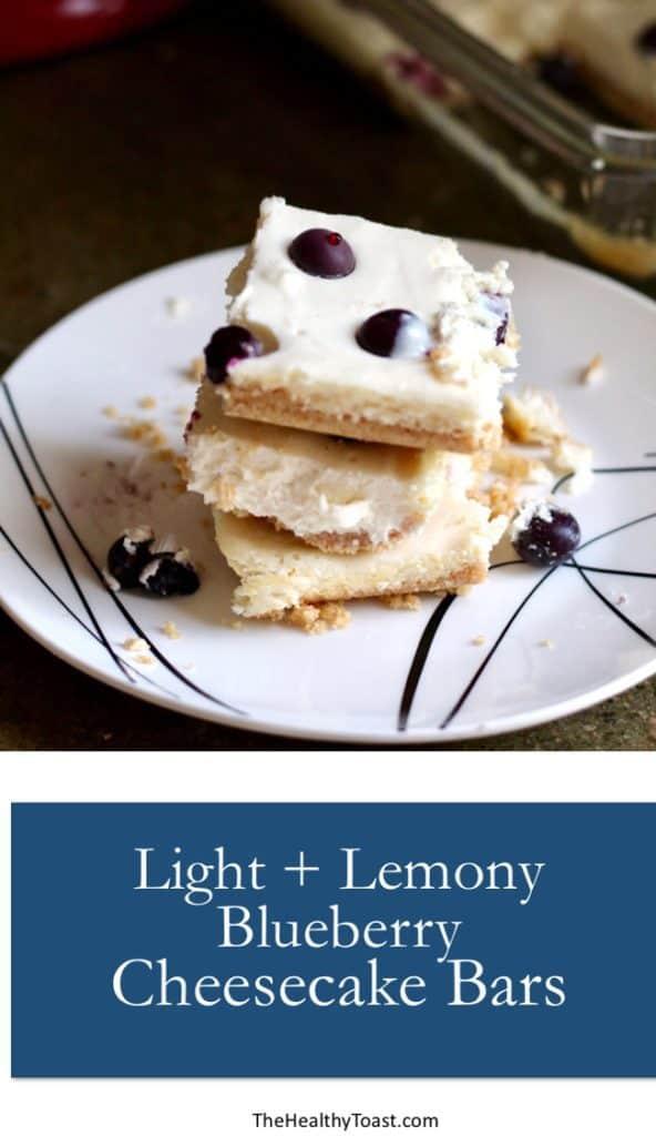 Light and lemony blueberry cheesecake bars pinterest image
