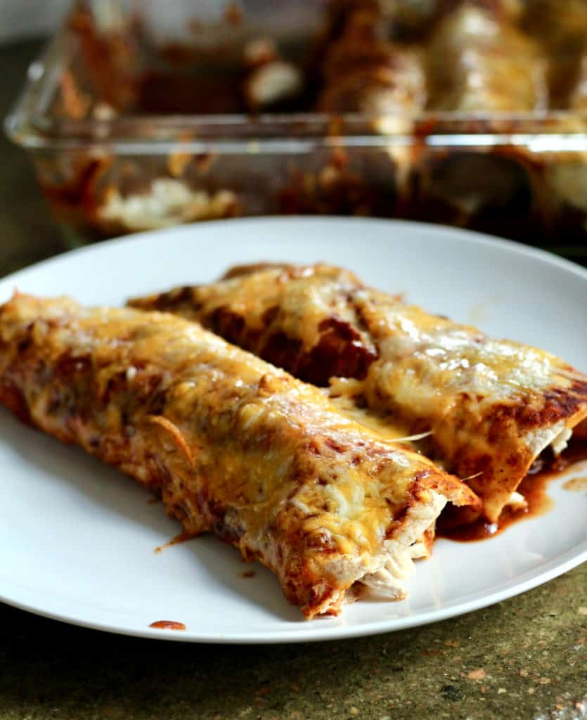 Chicken enchiladas on a plate