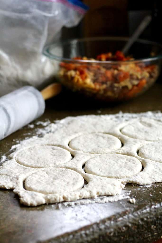 Greek yogurt empanada dough cut into circles