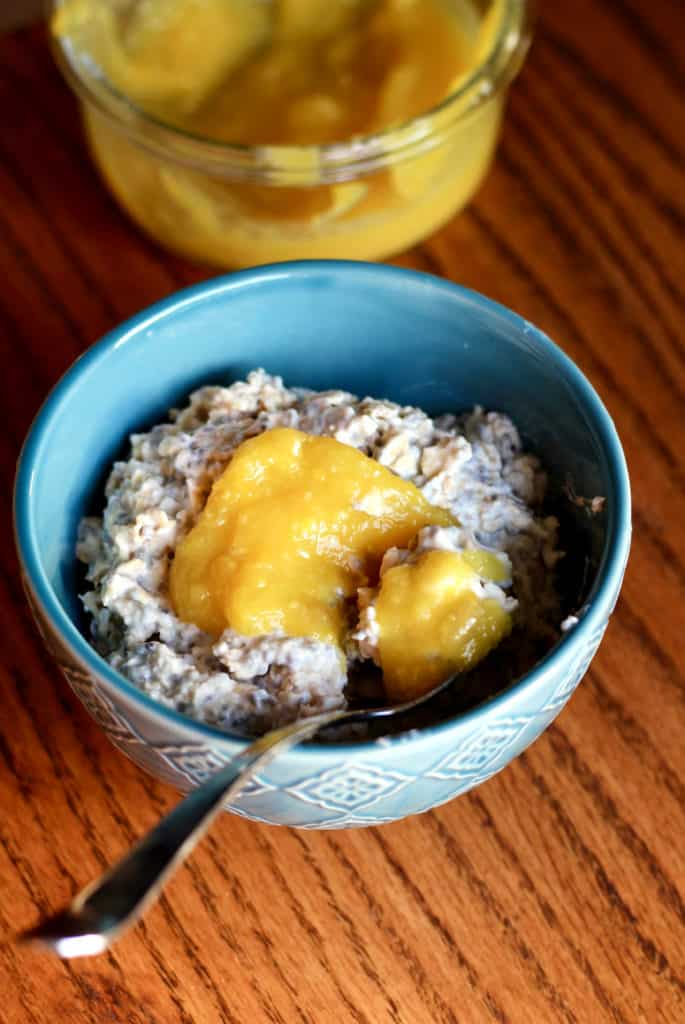 Lemon curd over overnight oats