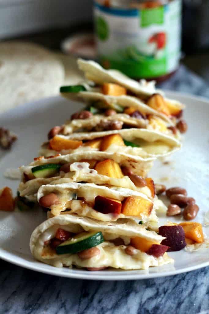 Cheesy Peach Quesadillas