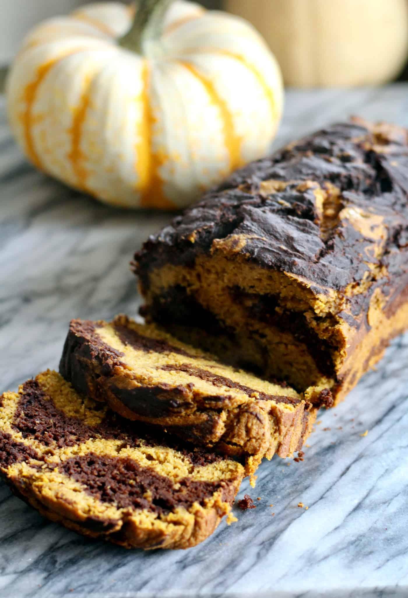 Healthier Marbled Pumpkin Bread