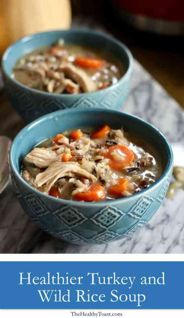 Bowl of lightened up turkey and wild rice soup