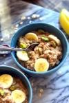 Vanilla Cardamom Oatmeal with sliced banana and pistachios