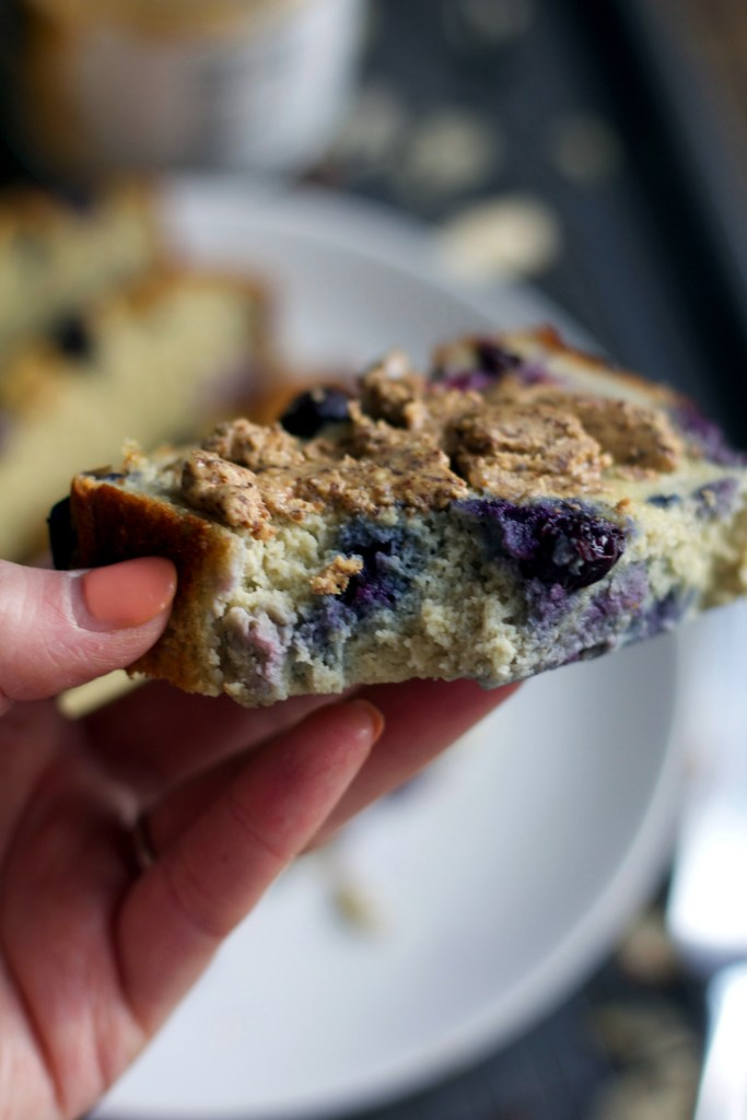 Bite out of almond flour blueberry banana bread