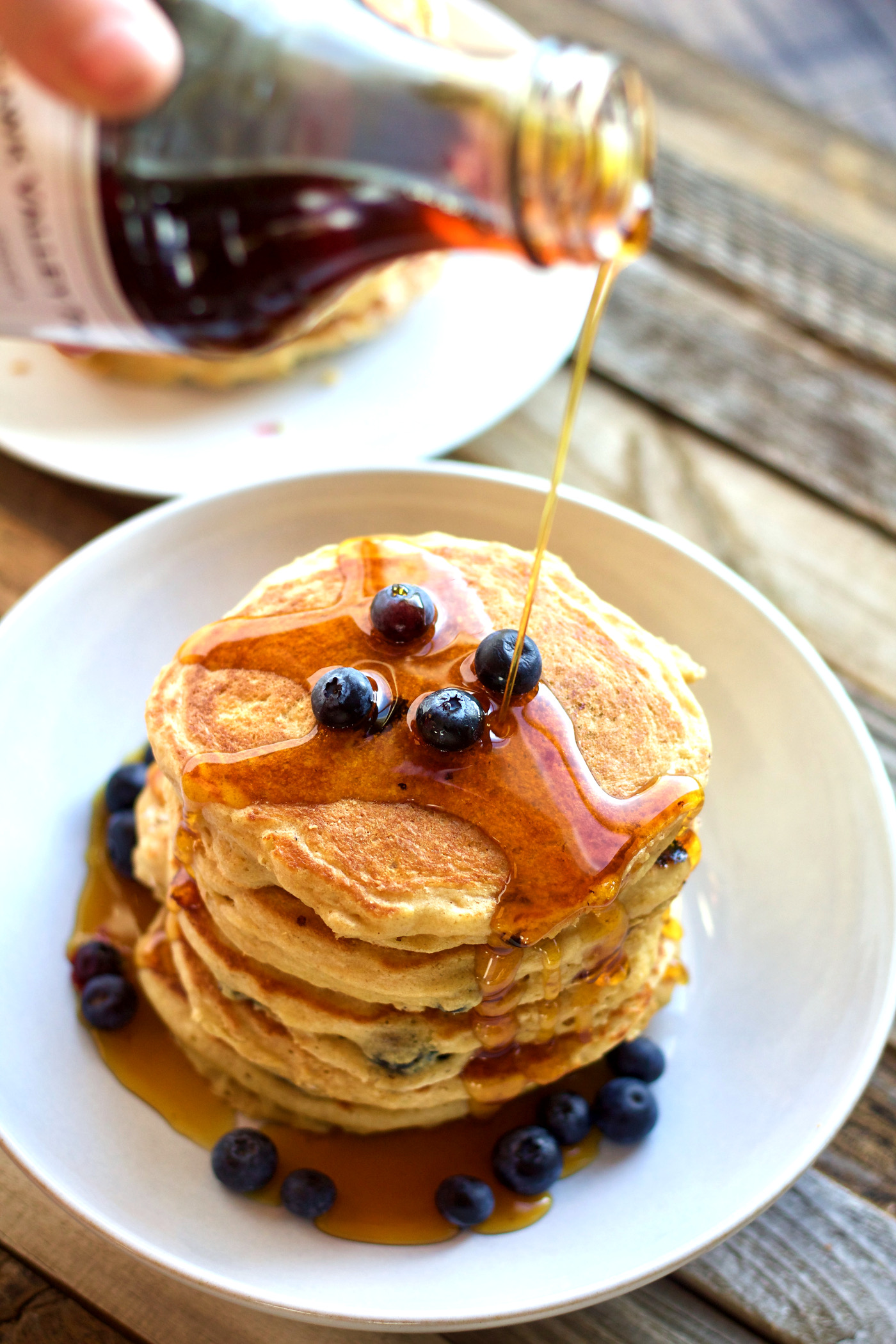 Super Fluffy Greek Yogurt and Blueberry Pancakes