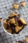 Bowl of chocolate dipped peanut butter hearts