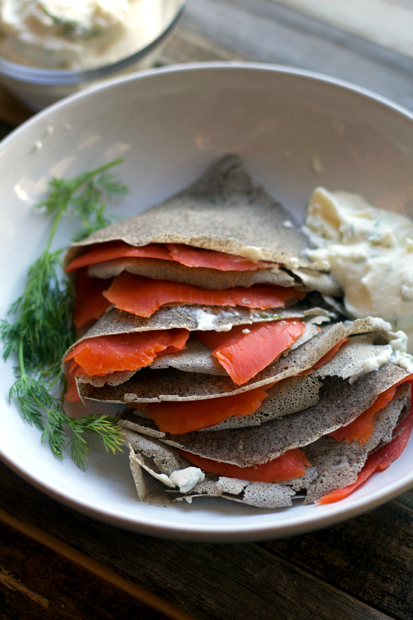 Gluten Free Buckwheat Crepes with Smoked Salmon and Lemon Herbed Ricotta