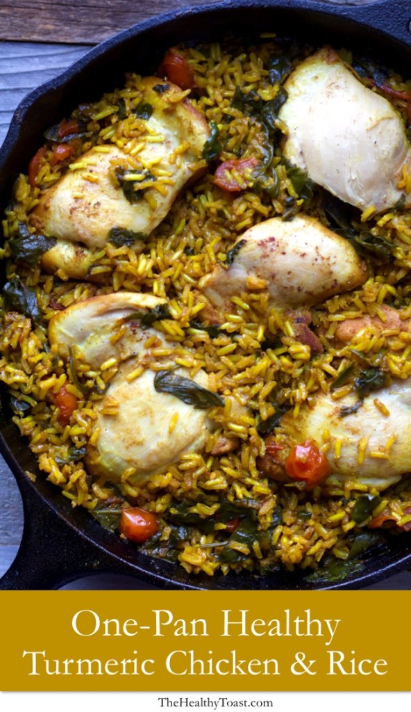 One Pan Healthy Turmeric Chicken and Rice Pinterest image
