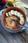 Chocolate peanut butter buckwheat breakfast bowl with spoon