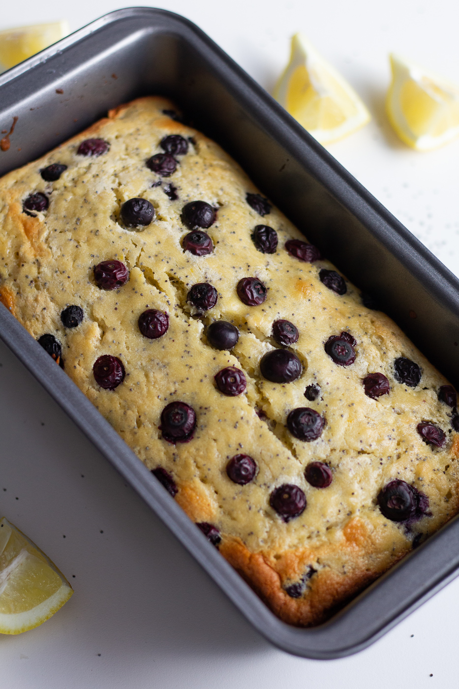 Healthier Blueberry Lemon Poppy Seed Bread with Cream Cheese