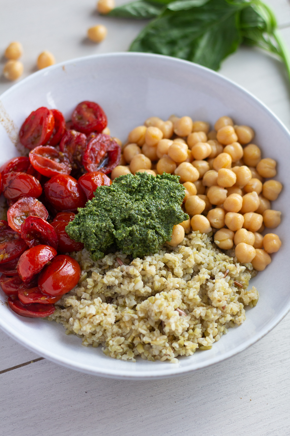 Mediterranean Pesto Chickpea Bowl