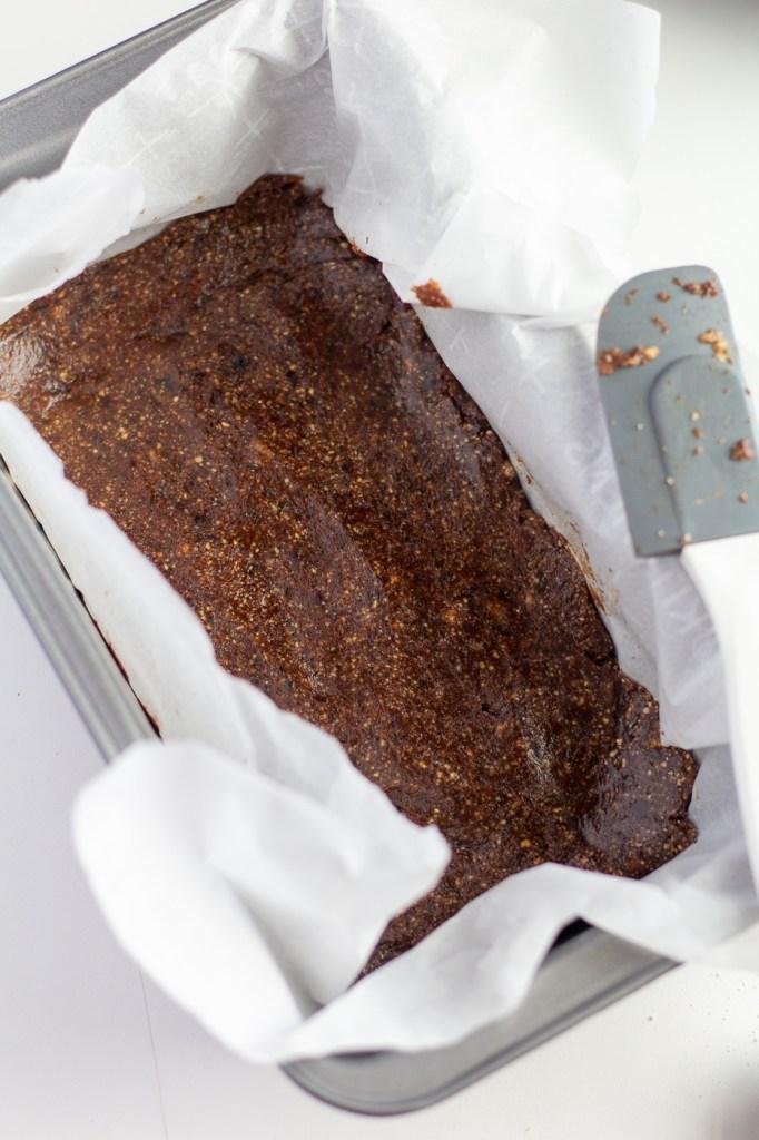 No-bake brownie base in loaf pan
