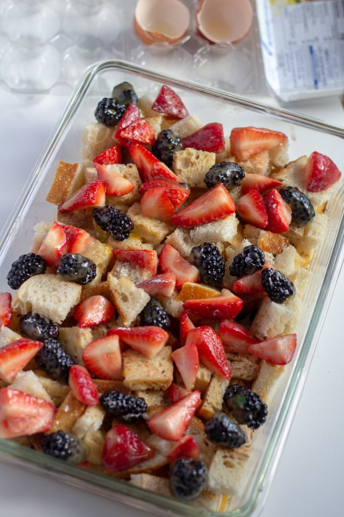 Assembled lightened up berry French toast casserole