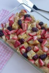 Pan of lightened up berry French toast casserole