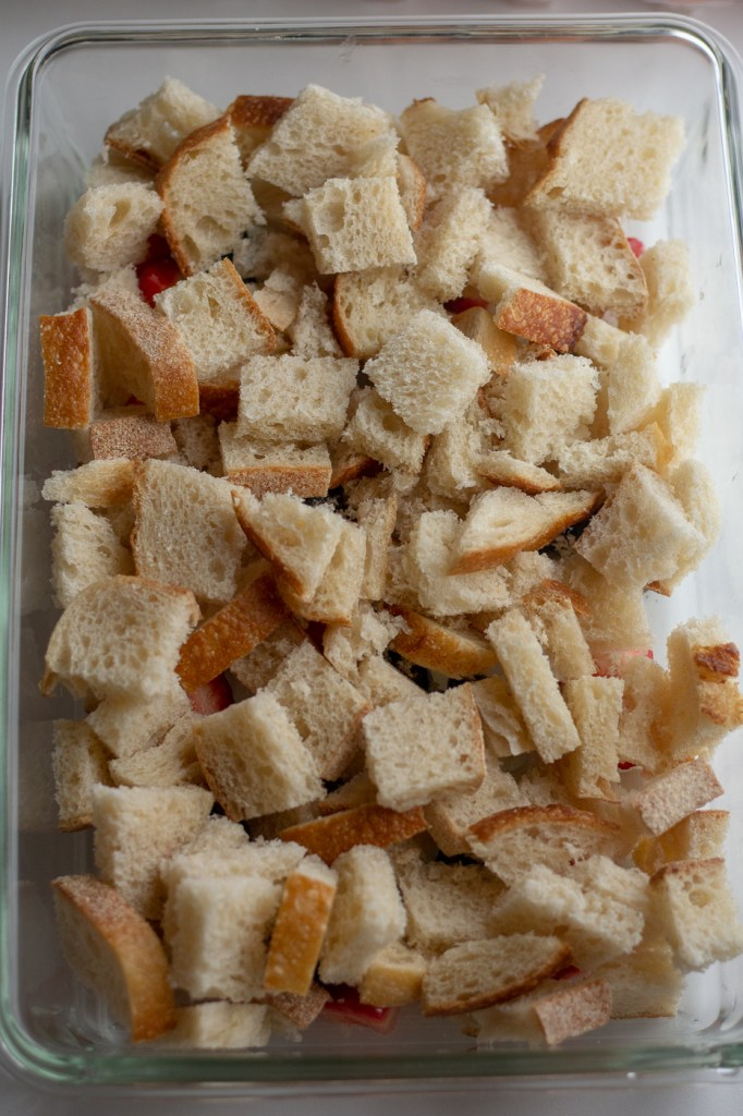 Bread cubes in 9x13 pan