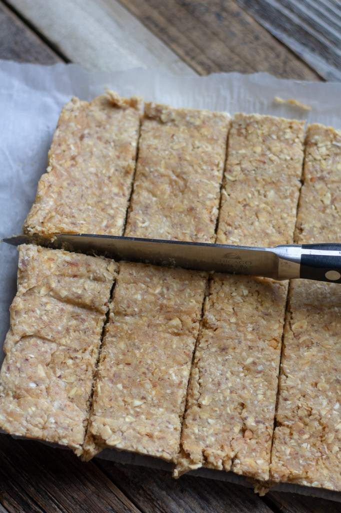Cutting homemade vegan protein bars