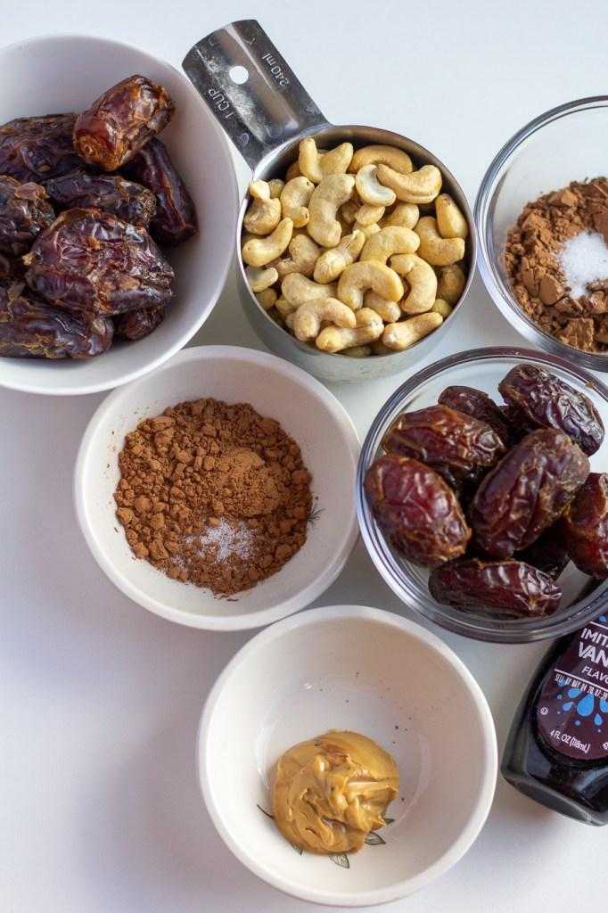 Medjool dates, cashews, cocoa powder, salt, almond butter, and vanilla extract