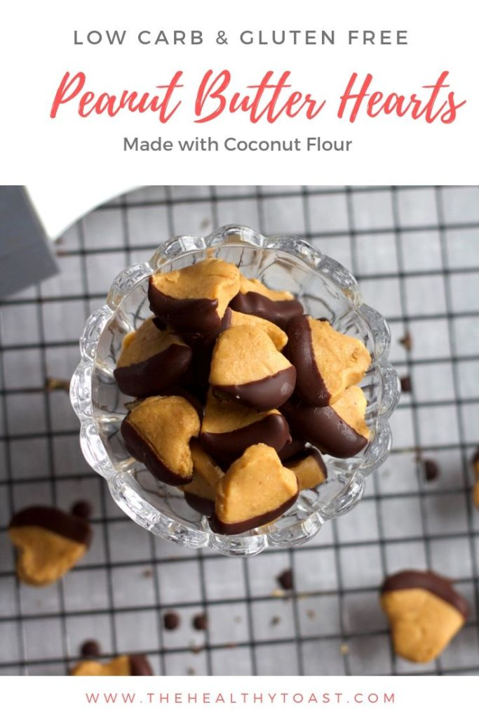 Chocolate dipped peanut butter hearts pinterest image