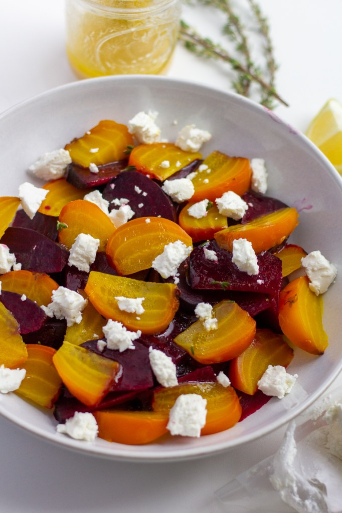 Roasted beet salad with goat cheese and lemon dressing