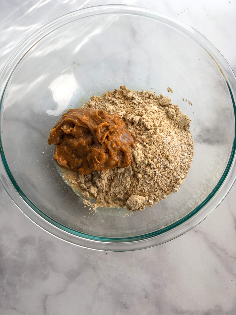 Combining peanut butter and dry ingredients