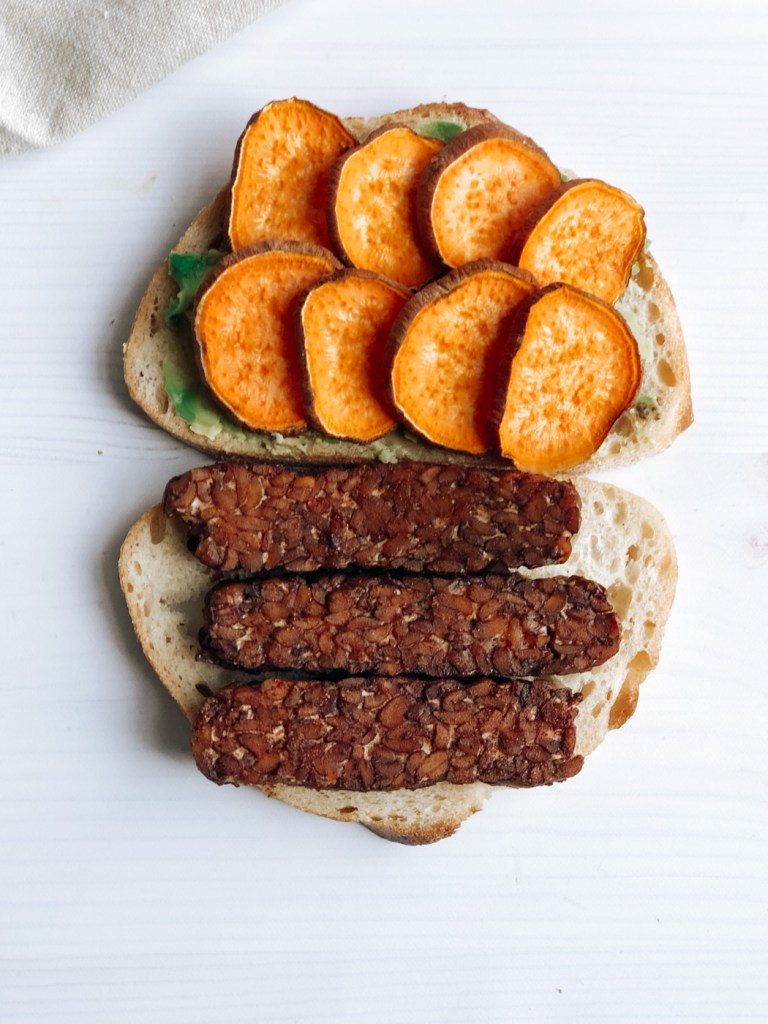 Open-faced tempeh sandwich