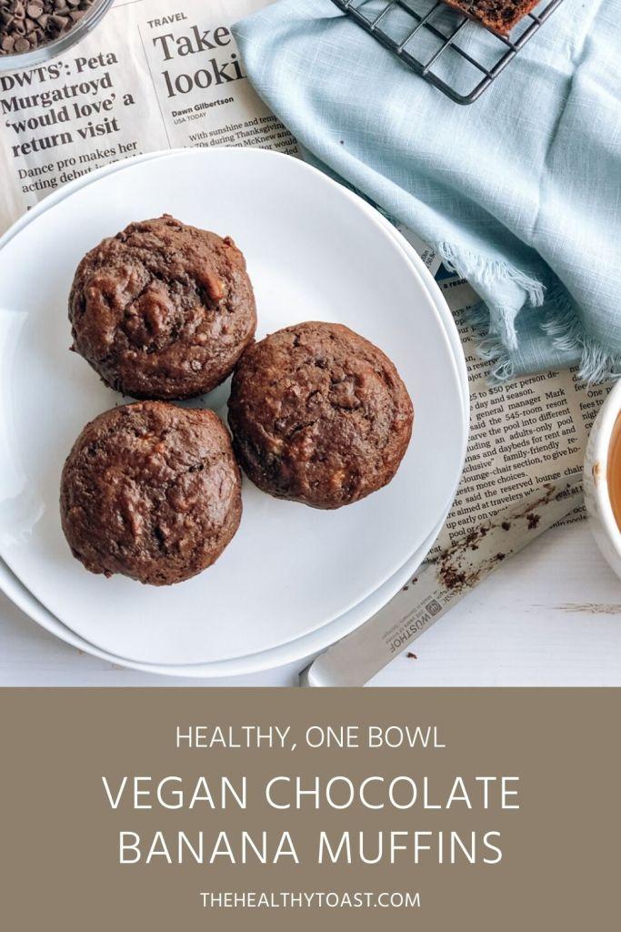 Plate of healthy vegan chocolate banana muffins pinterest image