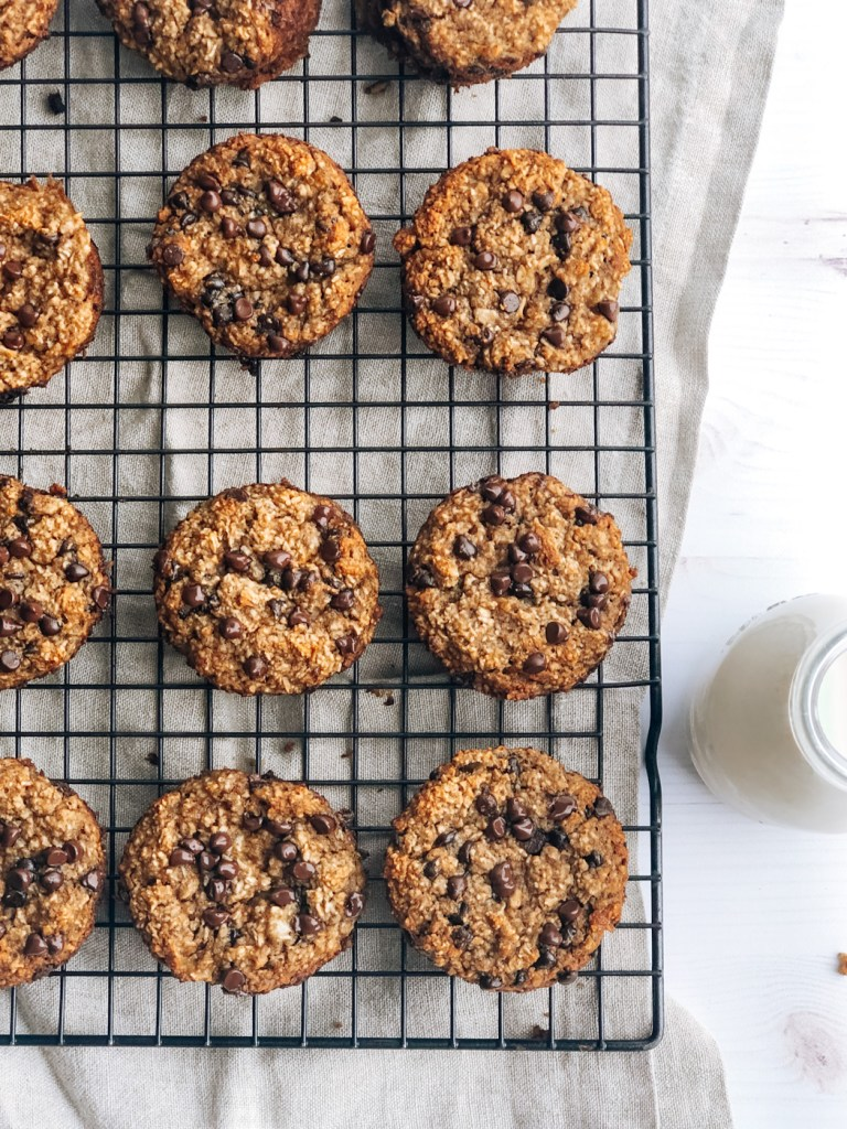 Healthy banana chocolate chip muffins cooling on cooling rack