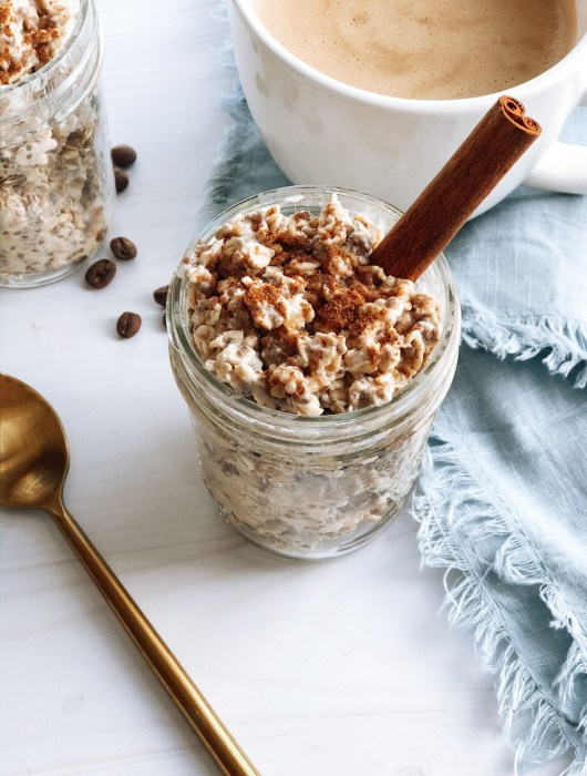 Healthy chai overnight oats with cinnamon stick