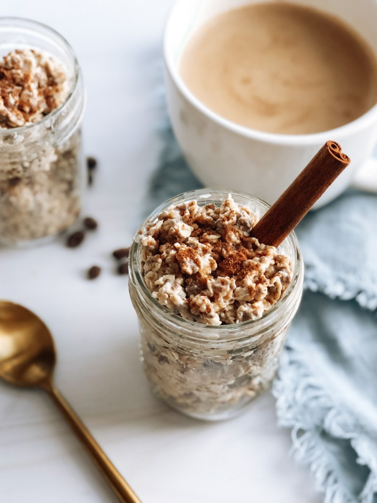 Dirty chai overnight oat recipe with cinnamon stick