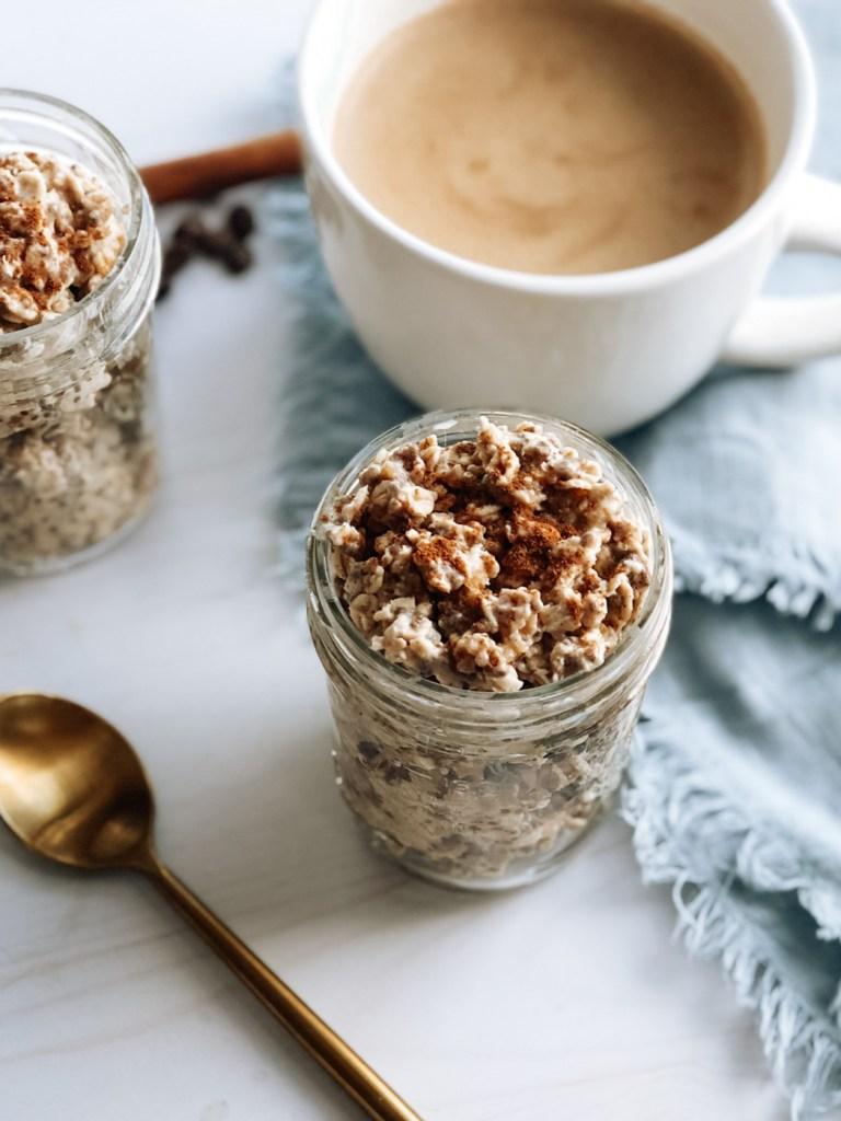 Jar of healthy chai overnight oats
