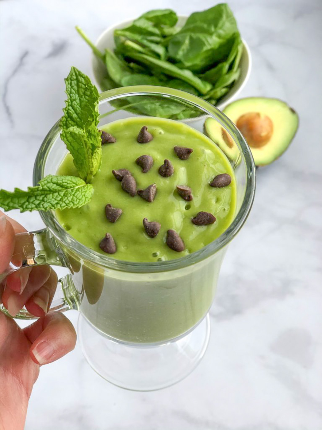 Healthy Avocado Mint Green Smoothie Recipe
