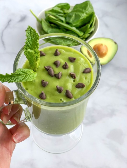 Avocado Mint Green Smoothie recipe in a glass with fresh mint