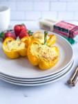 Breakfast stuffed peppers on a plate