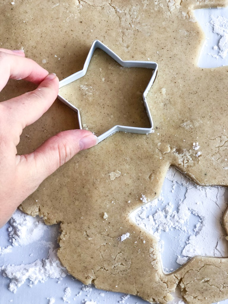 close up of cutting out chai spice cookie
