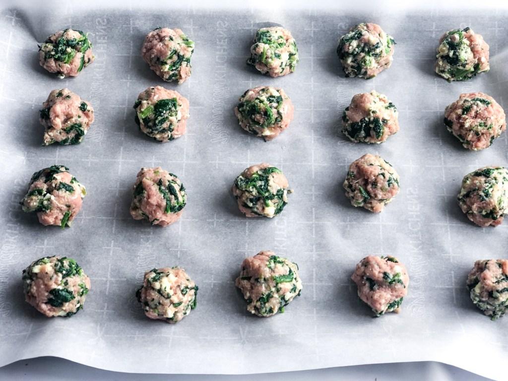 Formed greek turkey meatballs