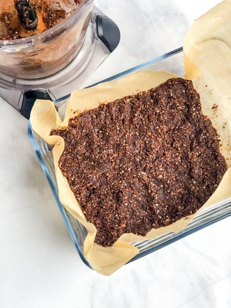 Pan of healthy no-bake brownies