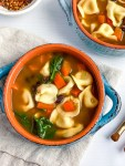 Bowl of healthy vegetarian black bean soup with tortellini