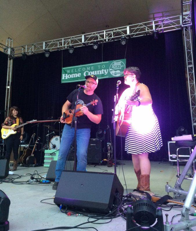 Amanda Lynn Stubley and Martin Horak perform at Home County 2017 while Lisa Leblanc looks on