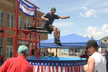 County Commissioner Kai Turner, then a member of the Meeker School Board, prepared to drop into the dunk tank during last year's event on Main Street.