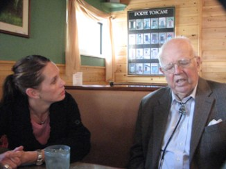 """Meeker attorney Trina Zagar-Brown visits with her mentor and friend Frank Cooley, whom she calls """"the gentleman lawyer."""""""
