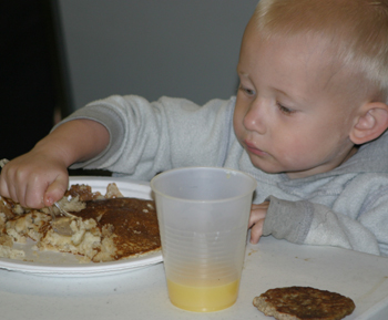 Jaxon Torsell enjoyed last year's pancake breakfast. Rangely firefighters will again prepare and serve breakfast this Labor Day.